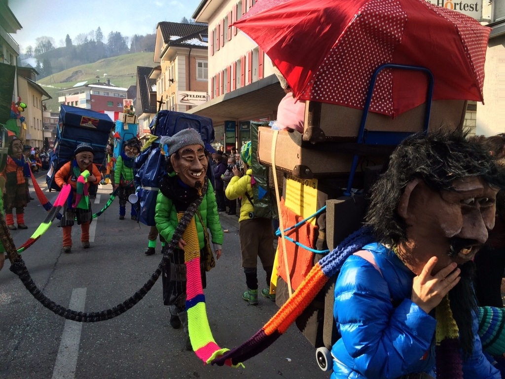 We like the carneval of Lucerne very much: this is our family and friends.