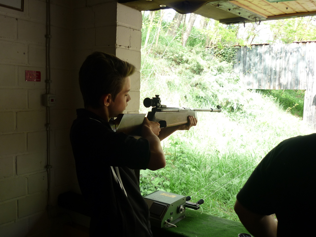 Lucas with the air rifle