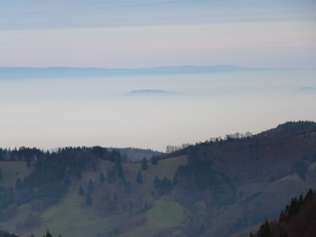 View of Kaiserstuhl (557m) and the Vosges (1424m), France, from Wiedener Eck