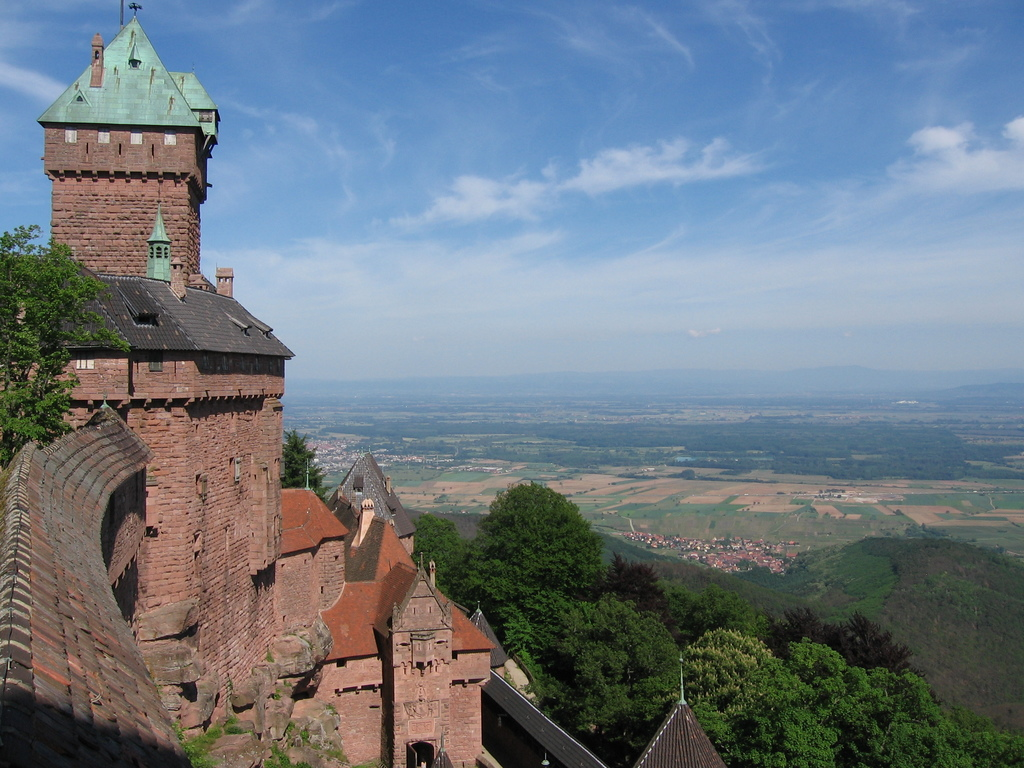 Haut Koenigsbourg (12th century), France, and view of the Upper Rhine Plain