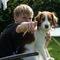 Bertram and our Kooiker dog