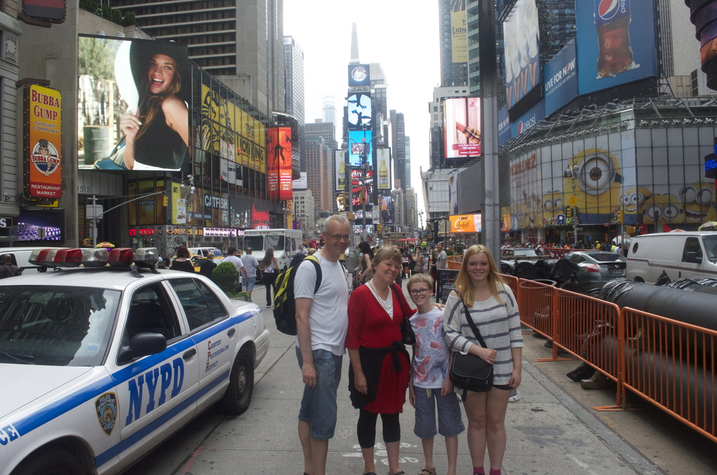 Our family on a trip to New York in the summer of 2013.