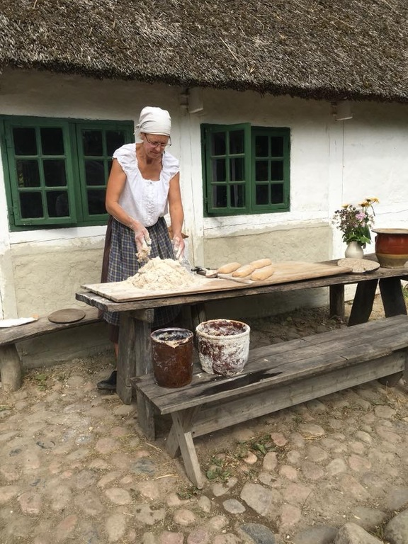 Baking bread the old fashioned way.