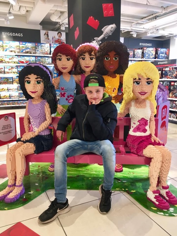 My son in good company with Lego Friends;)