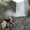 Our family (Helle, Kim, Selma and Manfred) at Skogafoss, Iceland, 2020, during our first home exchange