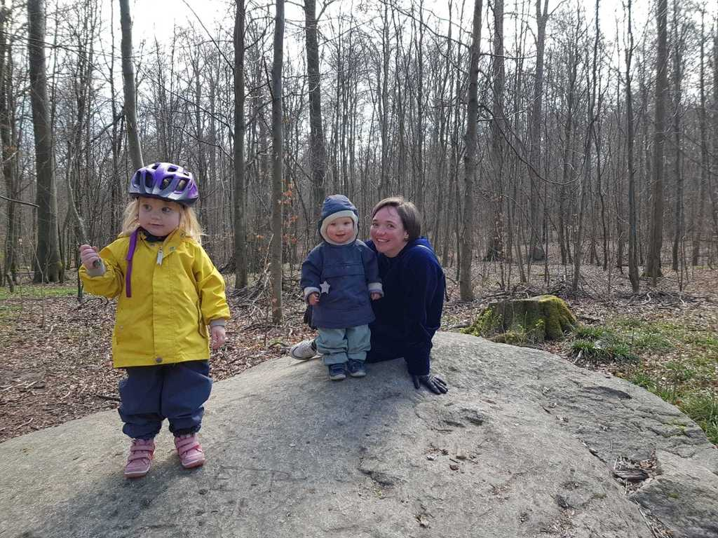 Selma, Manfred, and Helle in the forest, a few minutes from our house, 2020
