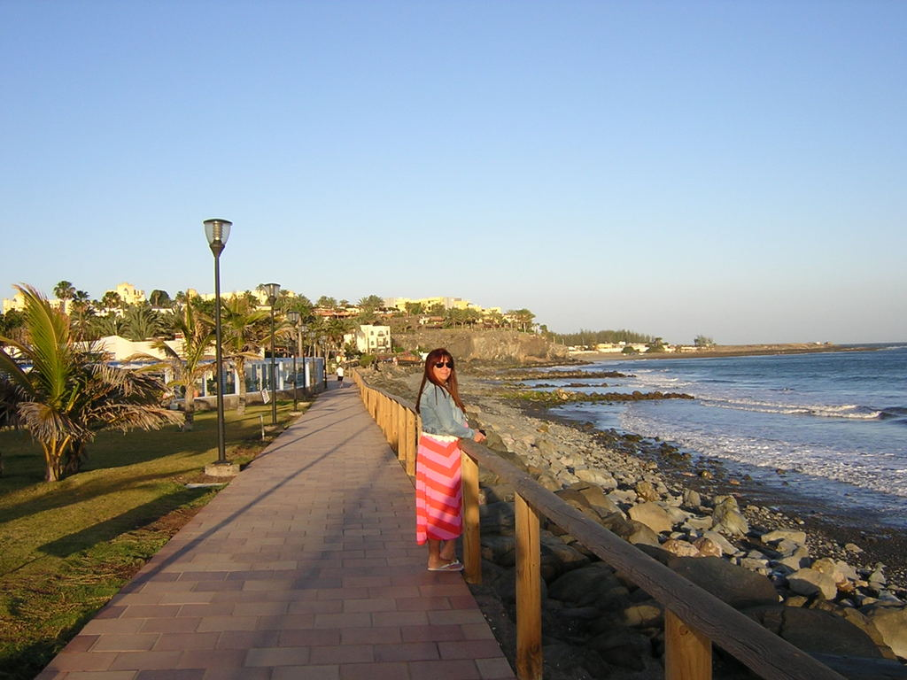Conchi in the promenade beside the apartment