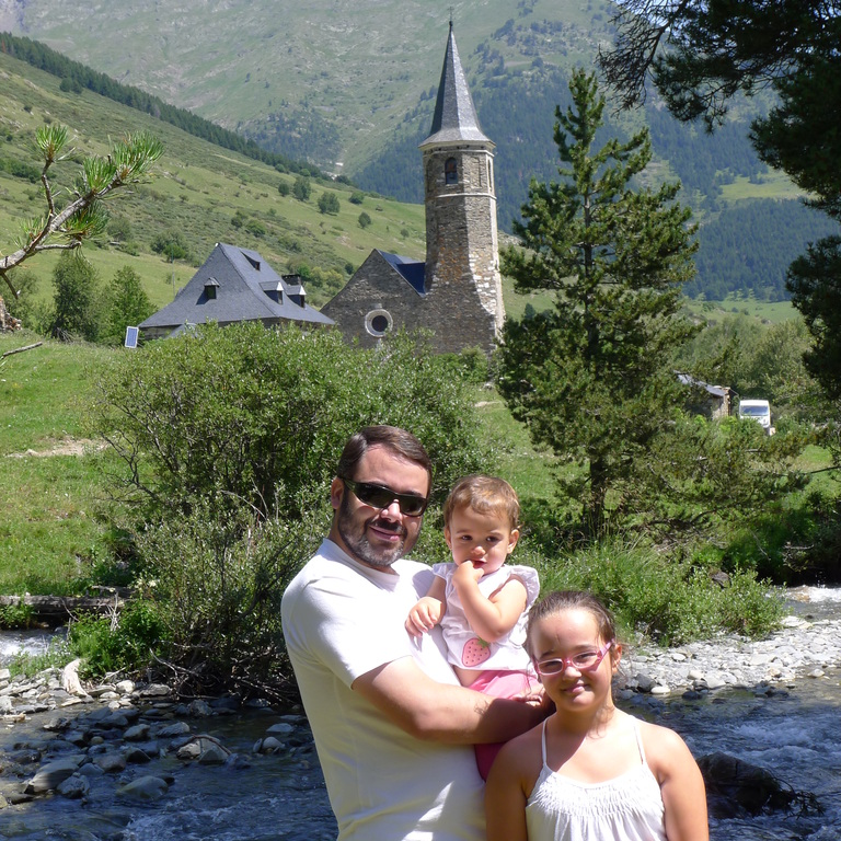 Daddy, Aitana and Andrea at Montgarri hermitage