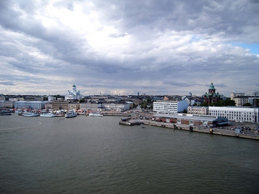 A panorama of Helsinki from the seaside