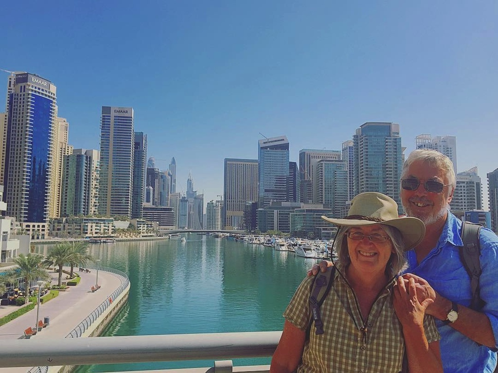 Sue and Alan, in Dubai, autumn 2017.  On our way home from our Australian exchange.