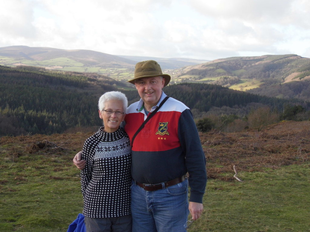 Geoff and Linda on the local hills in winter.