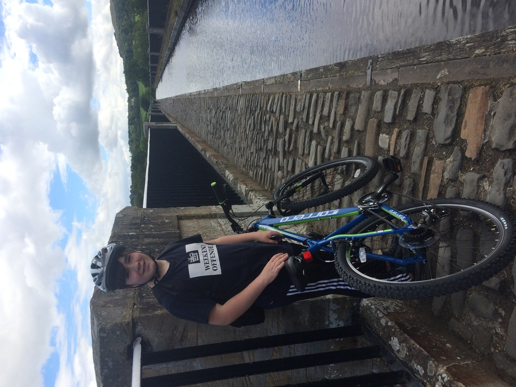 Jack cycling from Larbert to Linlithgow (1-2 hours by bike along the canal)
