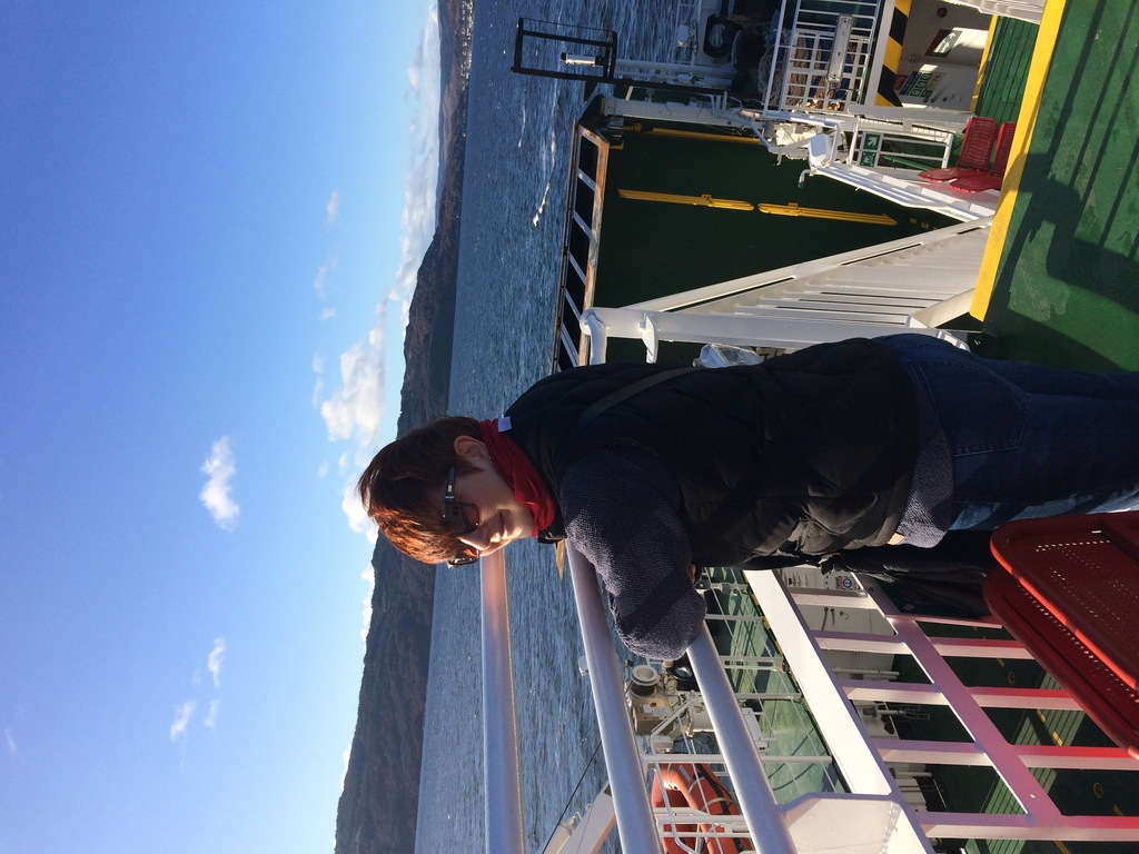Alex on the ferry to Tarbert - November 2017