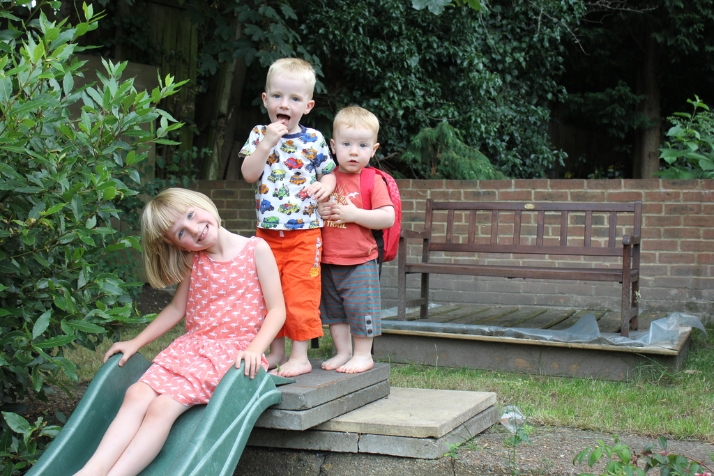 kids playing in our garden