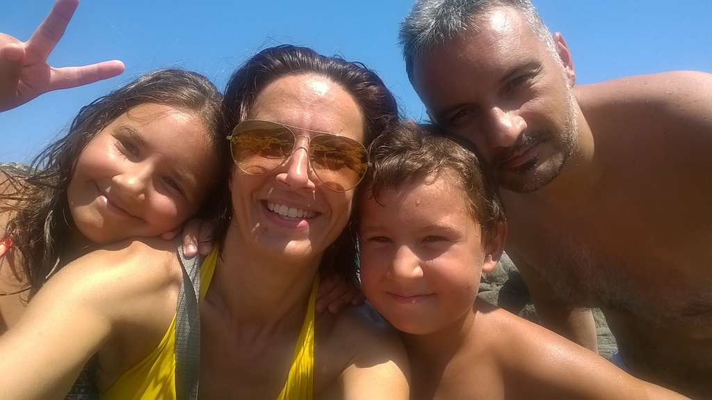 Kanaraki family, summer 2016 at Agridia beach, Sykia - Toroni
