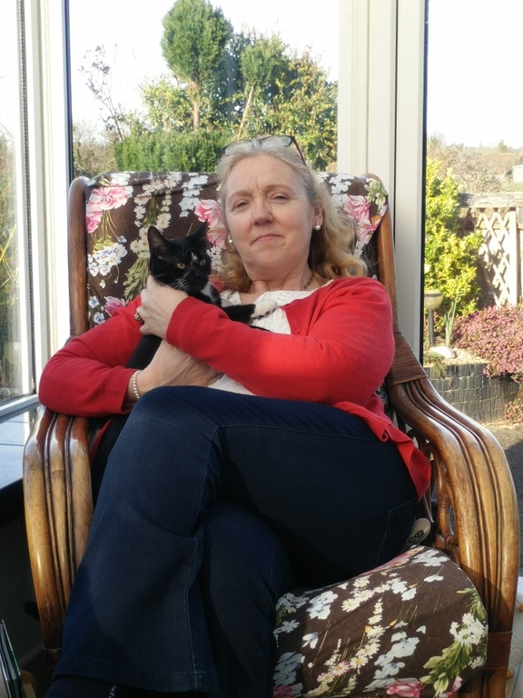 With our cat, Figaro, in conservatory, 2016