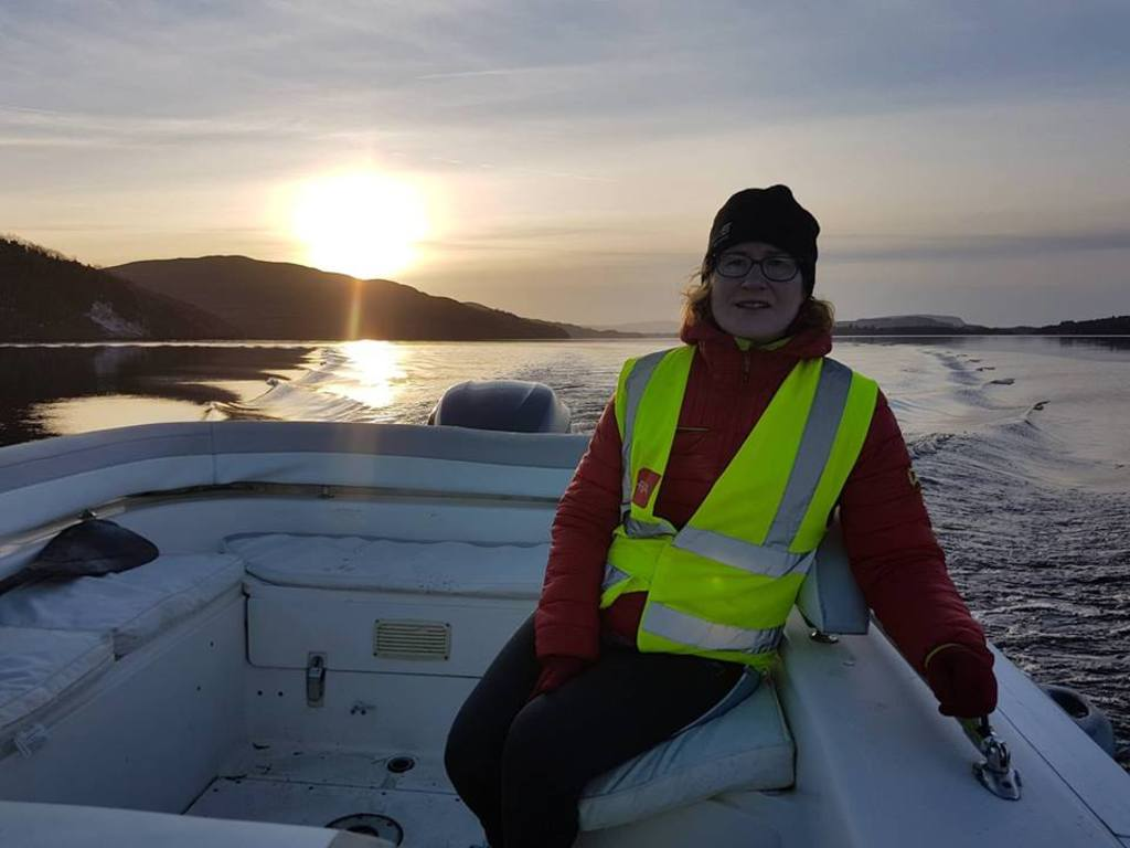 Imelda on a boat trip on Lough Gill, 5 minutes from our house.