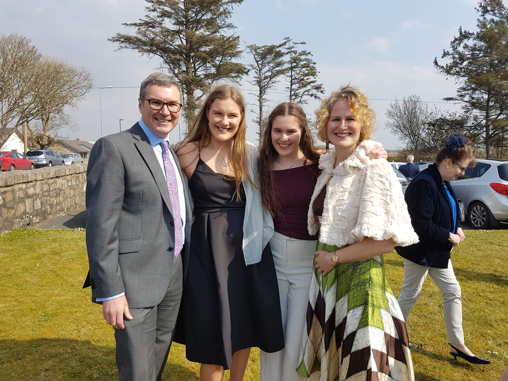 At a family wedding in Galway in April 2019.