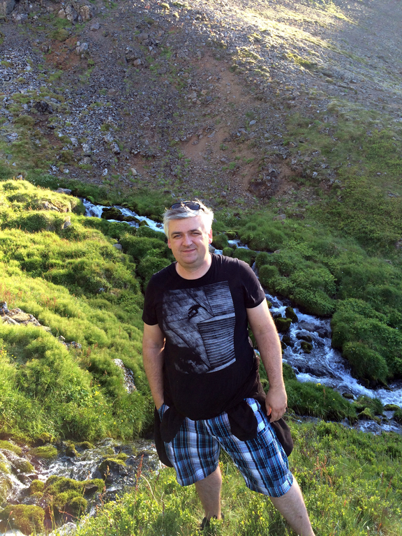 Arnar hiking in the Westfjords