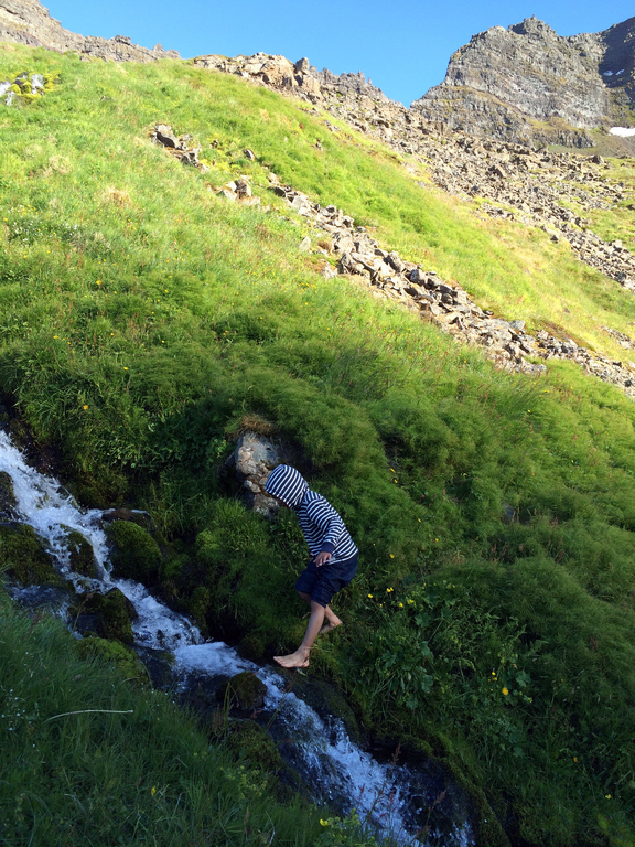 Our younger son on a hike in the Westsfjords