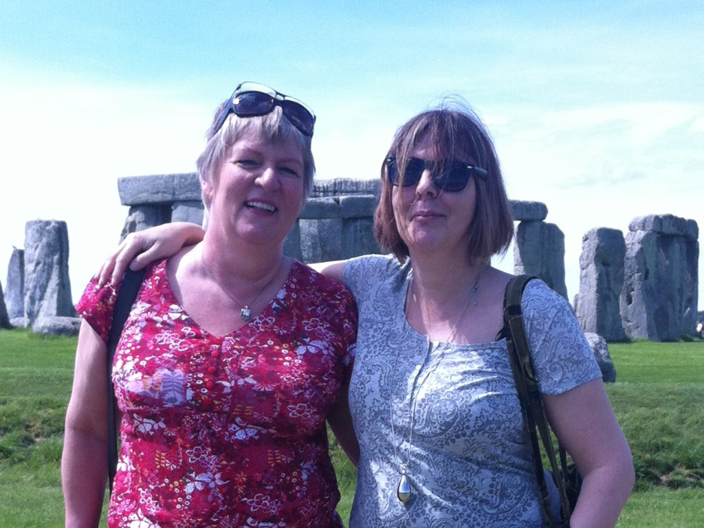 With a friend at Stonehenge UK during Exchange