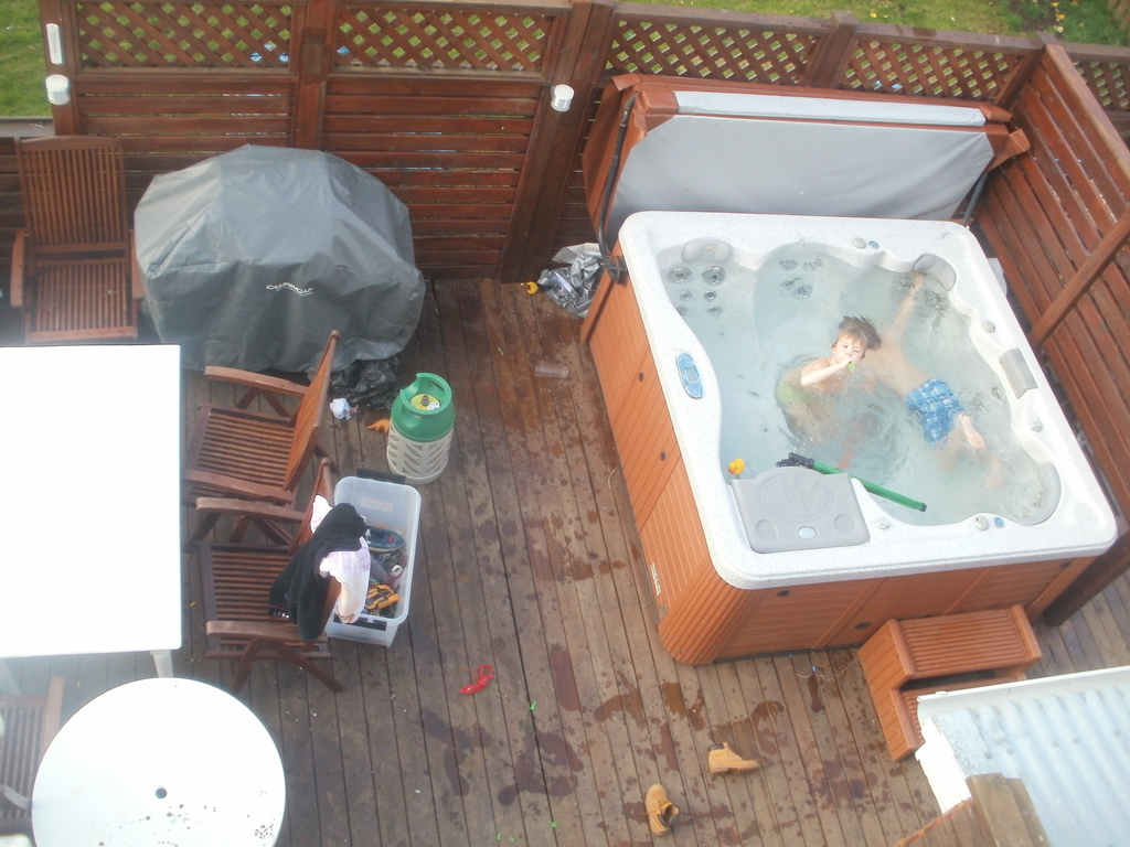 The hot tub from the balcony
