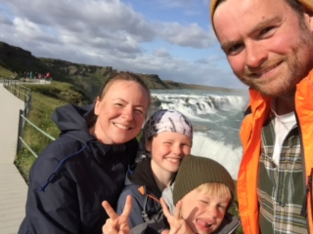 The family at Gullfoss waterfall.