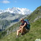 mountain trekking, on the background the Monte Rosa
