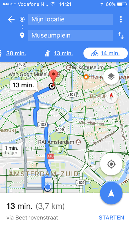 13 minutes to van Gogh- and Rijksmuseum