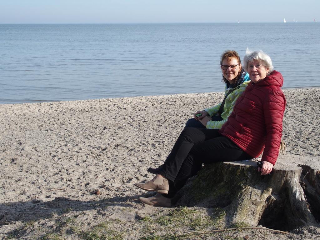 Enjoying the small IJsselmeer beach nearby