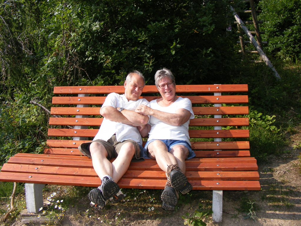 on a bench in a wood on the Hünsrück in Germany