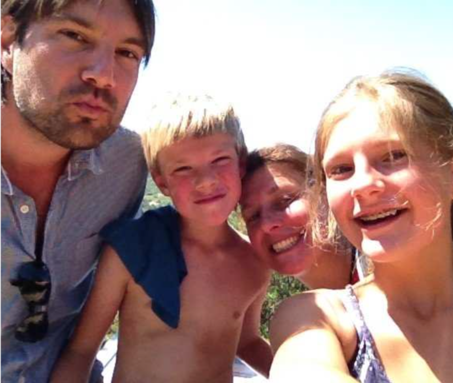 Diederik, Casper, Heleen and Elisabeth on holiday.