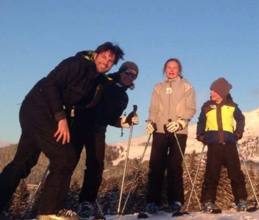 Skiing at our first Intervac exchange in 2014.