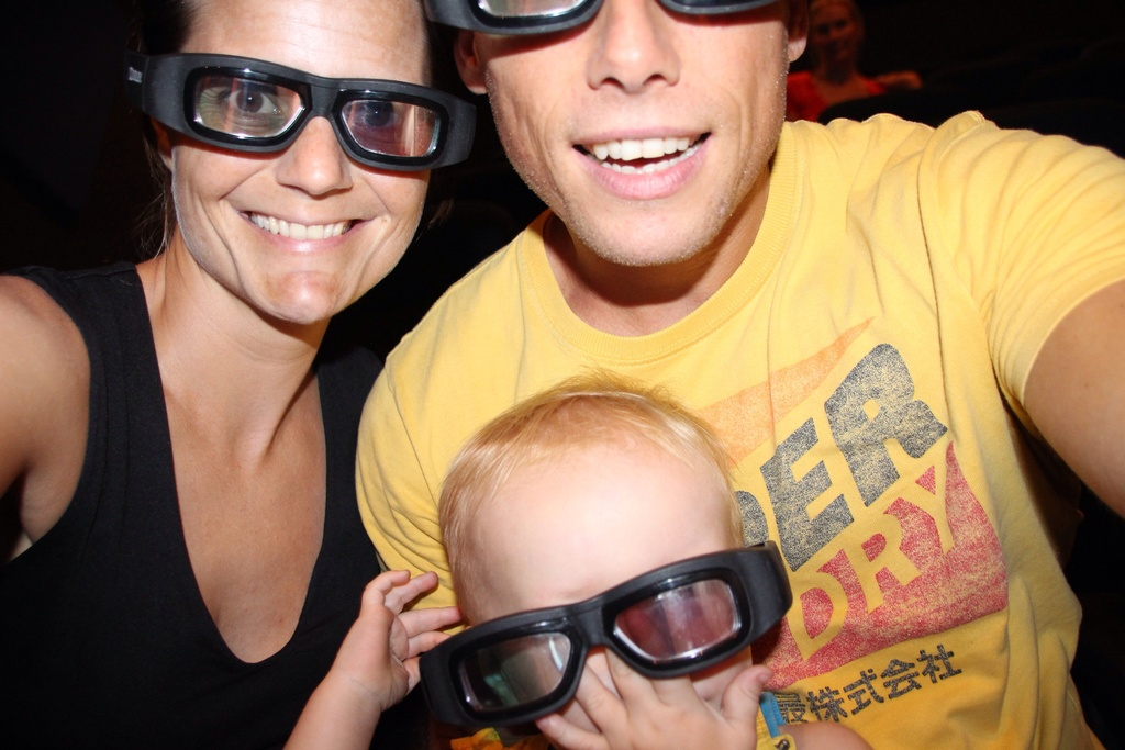 The three of us in a 3D cinema in the Panama Channel museum.