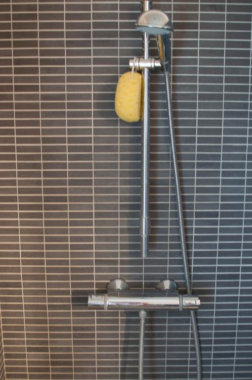 Walk in shower in the bathroom