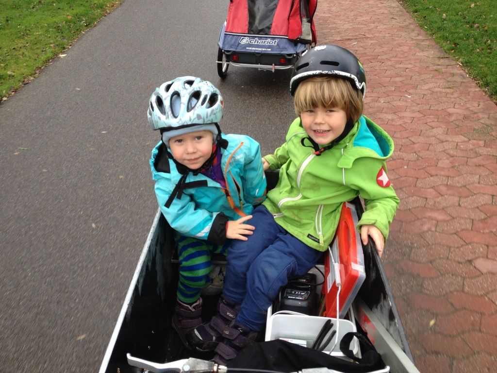 Our cargo bike and bike carrier.