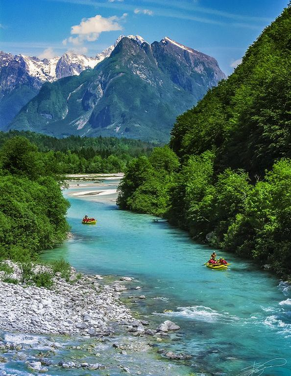 Rafting on the beautiful Soča river