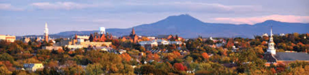 A view of University of Vermont and the Green Mountains east of Burlington