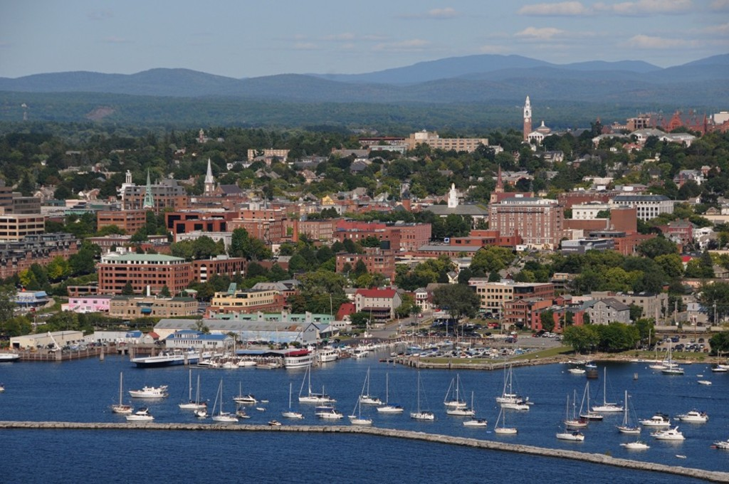 Burlington Vermont view from Lake Champlain Looking to the Green Mountains