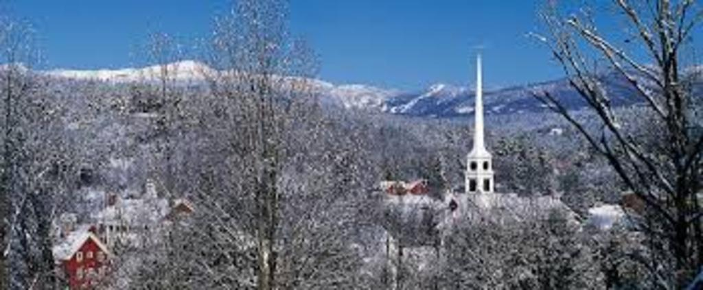 Stowe, Vermont in winter with view of Mount Mansfield's ski area.