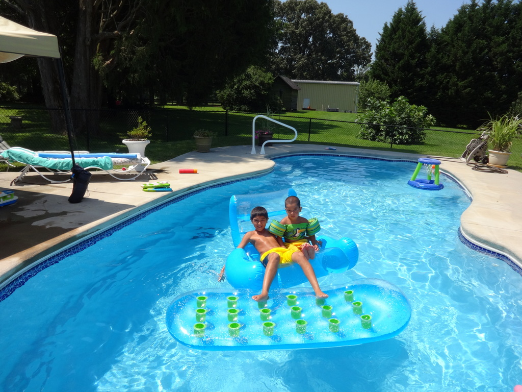 Grandchildren enjoying the pool