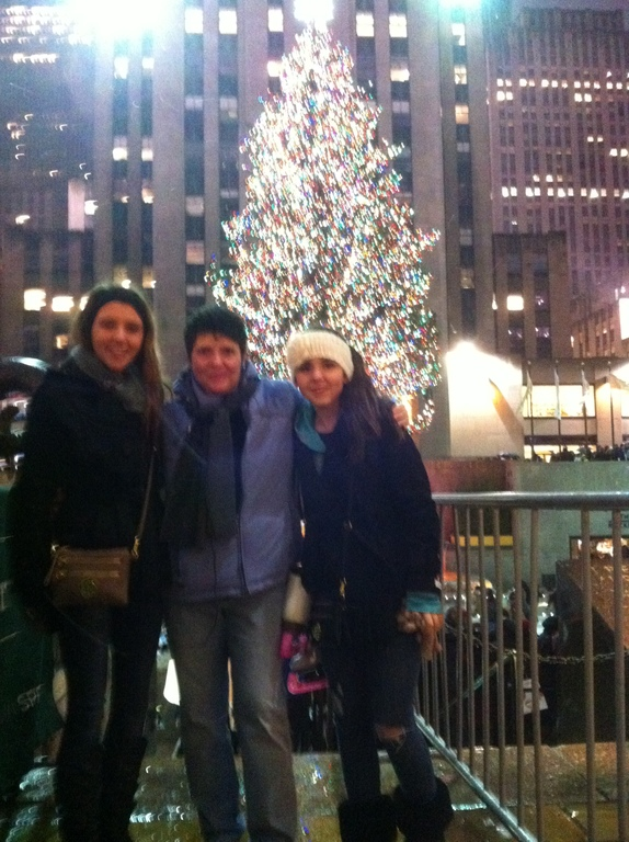 Two of my nieces at the tree