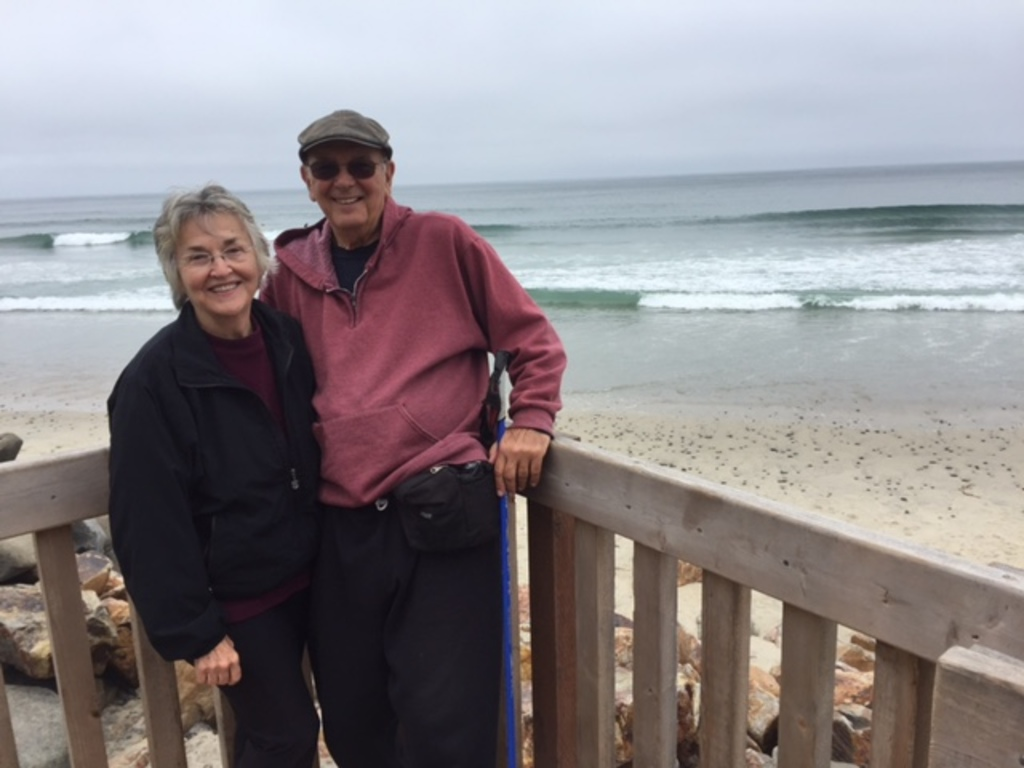 Enjoying the California beach; we love the ocean.